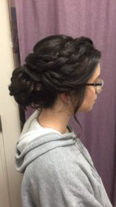 wedding hair, updo, prom, waterfall braid