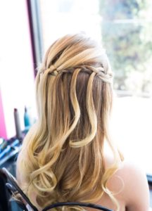 wedding hair, updo, waterfall braid